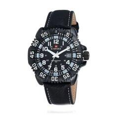 ซื้อ Naviforce นาฬิิกาข้อมือผู้ชาย สีดำ ขาว สายหนัง รุ่น Nf9041M ออนไลน์