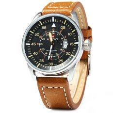 Naviforce Nf9044 นาฬิกาควอทซ์ Desplay คล้ายคลึงคนวันที่ สีน้ำตาล ใหม่ล่าสุด