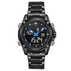 ราคา Naviforce Nf9050 Dual Movt Men Quarz Watch Analog Digital Led Wristwatch Calendar Watches Stainless Steel Strap Black Naviforce เป็นต้นฉบับ