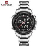 Naviforce Nf9050 Dual Movt Men Quarz Watch Analog Digital Led Wristwatch Calendar Watches Stainless Steel Strap Intl จีน
