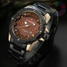 Naviforce นาฬิกาข้อมือ สายแสตนเลสสีดำหน้ากลม รุ่น Nf9078 Rgold ใน นนทบุรี