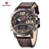 โปรโมชั่น Naviforce Nf9095M Male Dual Movt Watch Calendar Luminous 3Atm Genuine Leather Band Wristwatch Brown Intl Naviforce ใหม่ล่าสุด