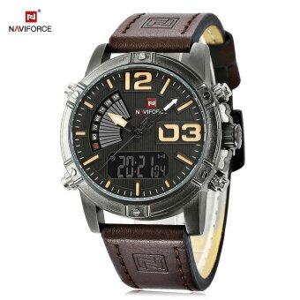 NAVIFORCE NF9095M Men Dual Movt นาฬิกาส่องสว่าง LED Light 3ATM นาฬิกาข้อมือ