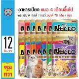 ราคา Nekko อาหารเปียกแมว คละรสชาติเกรวี่และเจลลี่ สำหรับแมวอายุ 4 เดือนขึ้นไป ขนาด 70กรัม X 12 ซอง Nekko เป็นต้นฉบับ