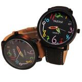 ขาย New Arrival Women S Men S Unisex Big Face Wrist Watch Analog Quartz Watches Gift Black Dial Brown Band จีน ถูก