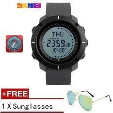 โปรโมชั่น New Compass Watch Men Wristwatches World Time Compass Stopwatch Pu Strap Relogio Masculino Waterproof Sports Watches 2017 Skmei Intl ใน จีน