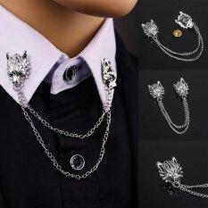 แฟชั่นใหม่วินเทจหมาป่าเข็มกลัดบุคลิกภาพชุด Pins เข็มกลัดผู้ชาย Jjewelry Chain สัตว์ Lapel Pin ของขวัญเย็น