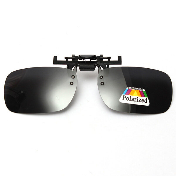 NEW Gray Grey Lenses Polarized Sunglasses Clip On Flip Up UV 400 Driving Glasses