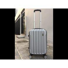 New กระเป๋าเดินทาง Abs ขนาด 20 สีเงิน ล้อขนาดใหญ่ 4 ล้อแบบหมุนได้ 360องศา มาพร้อมล็อคแบบตั้งรหัส เป็นต้นฉบับ