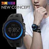 ทบทวน New Men Sports Watches 50M Waterproof Watch Countdown Double Time Watch Skmei Alarm Chrono Digital Wristwatches 1251 Black Blue Intl Skmei