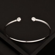New Trendy Simply Cubic Zircon Smooth Bangle Bracelets Cuff Forwomen Open Bangle 18K White Gold Plated Sl397 Intl ใน จีน