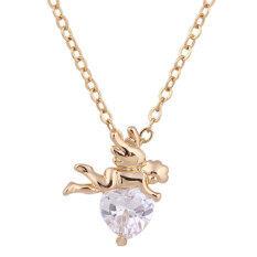 ขาย Niceeshop 18K Yellow Gold Plated White Rhinestone Elfin Hug Stone Pendant Necklace For Women ใหม่