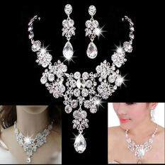 Niceeshopwaterdrop Leaves Style Crystal Bridal Jewelry Set Necklace Earrings,silver