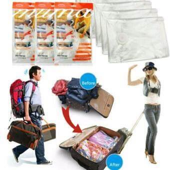 Noikatoo ชุดถุงสุญญากาศ(3 ใบ+กระบอกสูบลม)ใส่เสื้อผ้าเดินทาง ประหยัดพื้นที่กระเป๋าเดินทางหรือใส่ในตู้เสื้อผ้า ขนาด 80x110 cm.(XL)