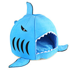 ราคา ราคาถูกที่สุด ฉลามหนูรูปทรงแปลกๆสัตว์เลี้ยงนอนอยู่บ้านหมาขนาดเอส สีน้ำเงิน