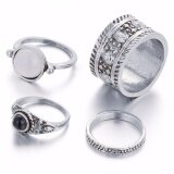 Ocean New Fashion Woman Rings Joint Exaggeration Gemstone Foot Ring Han Edition Retro Carved 4 Pieces Suit Intl ถูก