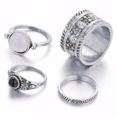 โปรโมชั่น Ocean New Fashion Woman Rings Joint Exaggeration Gemstone Foot Ring Han Edition Retro Carved 4 Pieces Suit Intl