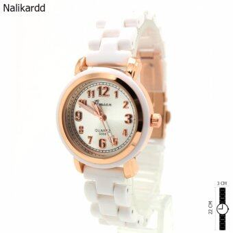 Omsan Ceramic Watch นาฬิกาข้อมือสุภาพสตรีและเด็ก Rose Glod สายเซรามิกขาว OC-13