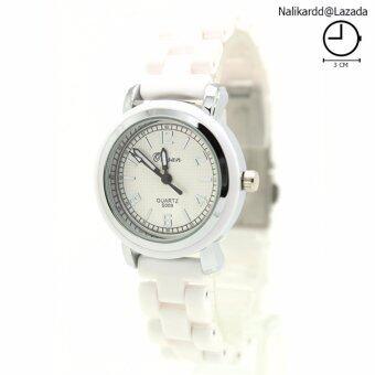 Omsan Ceramic Watch นาฬิกาข้อมือสุภาพสตรีและเด็ก สายเซรามิกขาว OC-05(White)