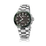 ราคา Oris Aquis Date Automatic นาฬิกาข้อมือสุภาพบุรุษ สายสแตนเลส รุ่น 01 733 7653 4157 สีเทาขอบเขียว ใหม่ล่าสุด
