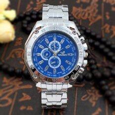 โปรโมชั่น Geneva ระดับไฮเอนด์แฟชั่นท่องเที่ยวและธุรกิจหรูสแตนเลสนาฬิกาของผู้ชายBlue ถูก