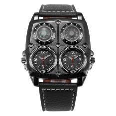 ราคา Oulm นาฬิกาข้อมือนาฬิกาข้อมือผู้ชายหนังทหารสายควอทซ์โซนเวลาคู่หมุนการเคลื่อนไหว ถูก