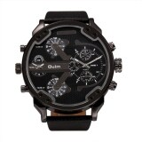 ขาย Oulm Fashion Oversized Dual Dial Display Time Chronograph Pu Leather Band Men S Watch Black Unbranded Generic เป็นต้นฉบับ