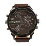 ราคา Oulm Fashion Oversized Dual Dial Display Time Chronograph Pu Leather Band Men S Watch Coffee Unbranded Generic