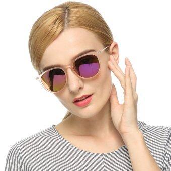 แว่นตากันแดด Q-Rated OuWen แฟชั่นสตรีสีม่วงพร้อมเลนซ์กระจกเงา UV400