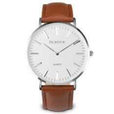 ราคา Pacifistor ผู้ชายผู้หญิงนาฬิกาอะนาล็อกนาฬิกา St Mawes สีขาวเงินหนังสีน้ำตาล ใหม่