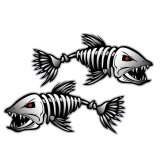 Pack Of 2 Skeleton Fish Bones Vinyl Decal Sticker Kayak Fishing Boat Car Graphics Intl ถูก