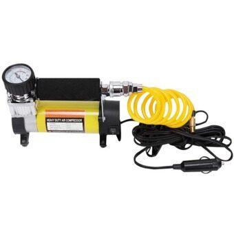 ปั๊มลมติดรถยนต์ ปั๊มเติมลมยาง ปั๊มลมไฟฟ้า 12V (สีเหลือง)