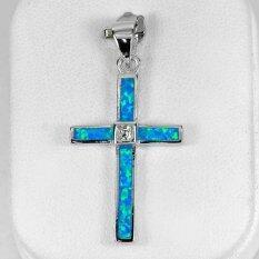 ขาย ซื้อ Parichat Jewelry จี้ห้อยคอเงินแท้ 925 ประดับโอปอสีฟ้าแบบไม้กางเขนสวยงาม