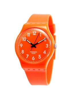 PASNEW นาฬิกาข้อมือผู้หญิง สีส้ม สายเรซิ่น รุ่นSwatch-Orange