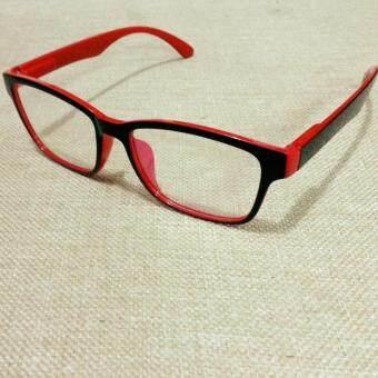 แว่นตากรองแสงคอมPCทรงเหลี่ยมเล็กสีทูโทน ขาสปริง