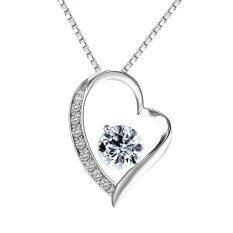 ราคา เครื่องประดับแฟชั่น Pealrich 925 เงินสเตอร์ลิงตลอดกาล Love Heart Diamond จี้สร้อยคอ เป็นต้นฉบับ