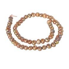 ลูกปัดมุกแท้ (Pearl) ลักษณะเม็ดกลมแบน (Flat Round) 7 mm – (สีทองอ่อน)