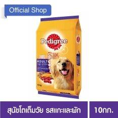 PEDIGREE® Dog Food Dry Adult Lamb and Vegetable Flavour เพดดิกรี®อาหารสุนัขชนิดแห้ง แบบเม็ด สูตรสุนัขโต รสแกะและผัก 10กก. 1 ถุง