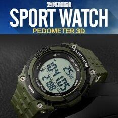 แบรนด์นาฬิกา Pedometer ดิจิตอลผู้ชายกีฬาวิ่งกันน้ำนาฬิกาข้อมือกองทัพทหารสีเขียวแฟชั่น 1112-นานาชาติ.