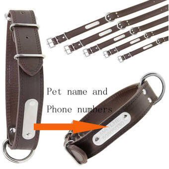 Personalised Custom Made Name Pets Dogs Cats CollarsLuxury Leather Safe Adjustable Metal Buckle Neck Collar Stainless Steel Freely Engraved ID Tag Puppy Name Phone Plate Charm Chain-BrownM - intl