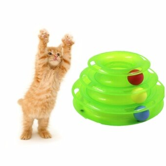 Pet interactive toys cat three-layer turntable pet puzzle fun rail tower cat toy plate GJYJQ12green - intl
