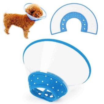 Pet Protective Anti-bite Pet Collar Ring Pet Dog Cat Neck Collar Blue Cover - intl