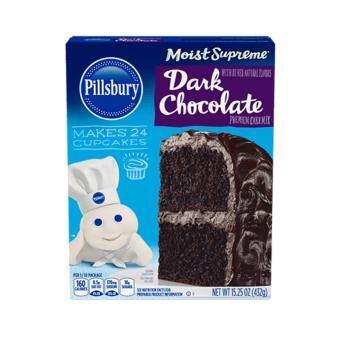 Pillsbury™ Moist Supreme® Dark Chocolate Flavored Premium Cake Mix makes 24 cupcakes แป้งขนมเค้กสำเร็จรูป