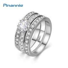 ขาย ซื้อ Pinannie แท้สีขาวชุบทอง Cz แหวนเครื่องประดับสำหรับผู้หญิง