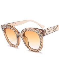 ทบทวน Pink Rhinestone Sunglasses Star Men Unisex Brown White Big Designer Black Shades For Women Female Uv400 Intl