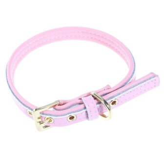 Pink Side Genuine Leather Pet Collar Dog Cat Collar Neck Strap Gold Buckle(Pink)-XS - intl