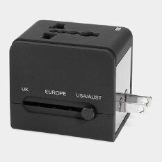 ปลั๊กไฟ Dual Usb Universal Adapter All In One รุ่น Square สีดำ พร้อม Usb เสียบชาร์ตแบตมือถือ/ไอแพด ใช้ได้ทั่วโลก Us/uk/eu/au รองรับกระแสไฟฟ้า 100-250 โวลต์ By Beeshop.