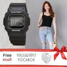 Poca Watch Shhors Piccy นาฬิกาข้อมือแฟชั่นผู้หญิง-ผู้ชาย นาฬิกาข้อมือ ดิจิตอล สายยาง ตั้งปลุกได้ กันน้ำได้ รุ่น Sh-718black Dw5000 แถมฟรีกล่อง Poca.