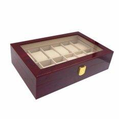 ราคา Premium Box กล่องนาฬิกา กล่องใส่นาฬิกา กล่องนาฬิกาข้อมือ หรูหรา พรีเมี่ยม สำหรับ 12 เรือน ลายไม้สีแดง ใหม่