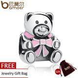 ขาย Authentic 925 Sterling Silver It S A G*rl Teddy Bear Pink Enamel Charm Fit Original Bracelets Jewelry Accessories Pas219 จีน